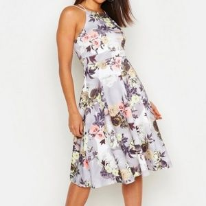 Boohoo Floral Print Strappy Full Skater Dress US 4